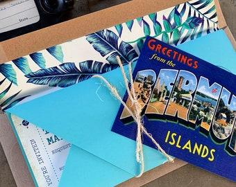 Vintage Boarding Pass Wedding Invitation (Bermuda) - Design Fee
