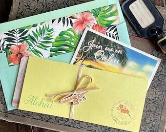 Retro Floral Boarding Pass Wedding Invitation (Oahu, HI) - Design Fee