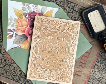 Wood Engraved Save the Date (Winery Wedding, Magnet) - Design Fee