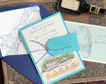 Custom Watercolor Wedding Invitation (Popponesset Inn, Cape Cod) - Design Fee