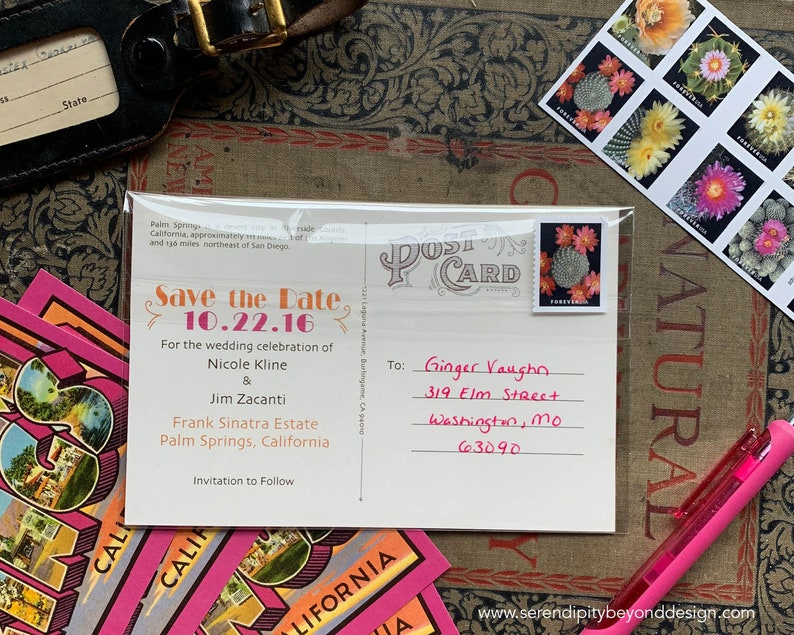 Vintage Large Letter Postcard Save the Date Napa Valley, California Design Fee