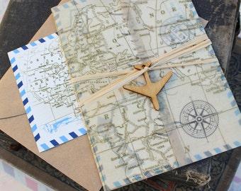 Vintage Postcard Air Mail Wedding Invitation
