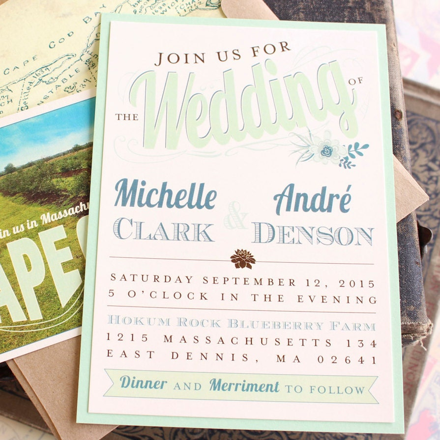 Wedding Invitation Packages Canada: Succulent Wedding Invitation Typography Wedding Invitation