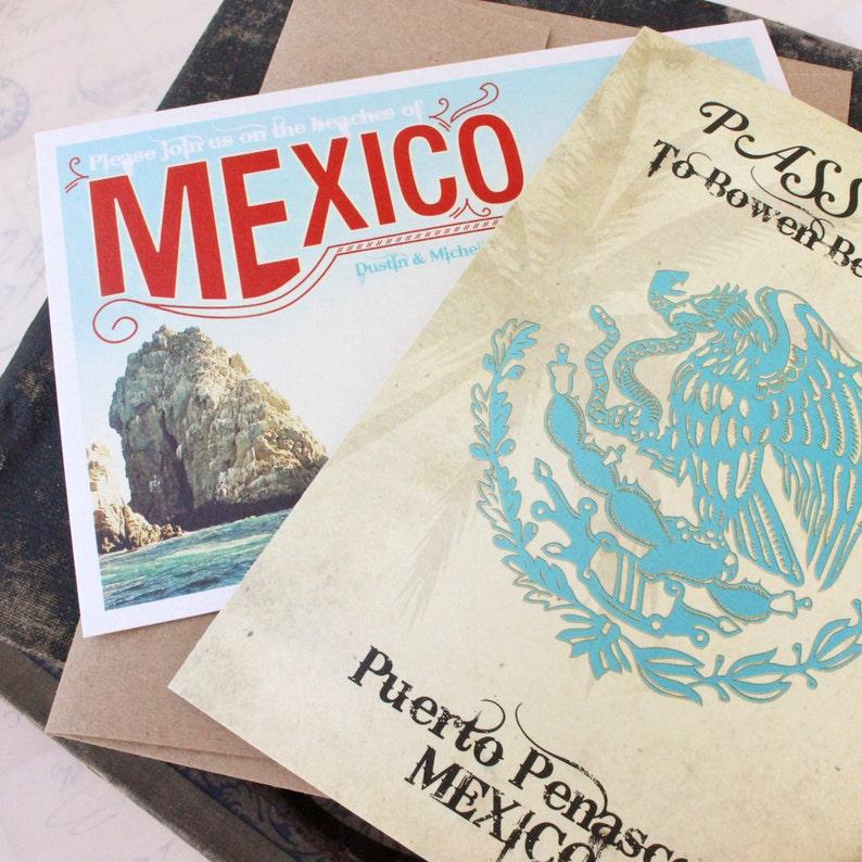 Design Fee Mexico Sugar Skull Passport Wedding Invitation