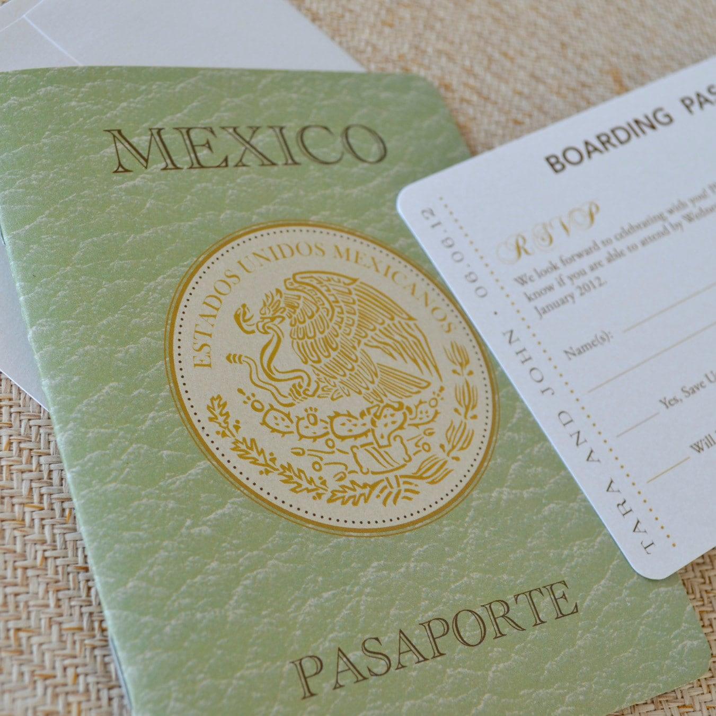Mexican Crest Passport Wedding Invitation San Jose Del
