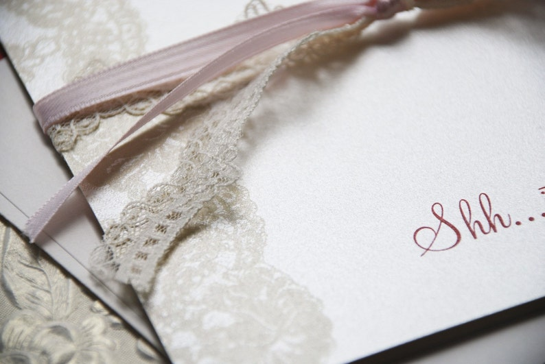 Pink, Tan and Red Design Fee Vintage Lace 70th Surprise Birthday Invitation