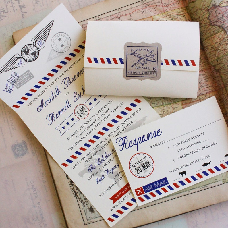 Seal And Send Wedding Invitations.Air Mail Seal And Send Wedding Invitation Design Fee
