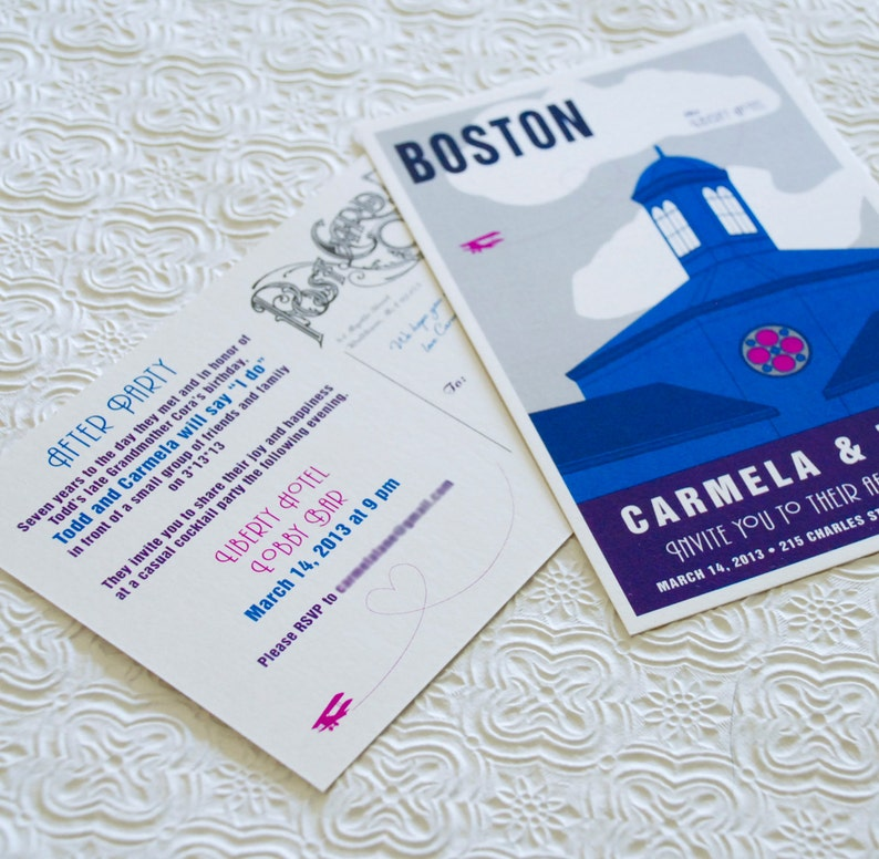 Boston Custom Illustration Travel Poster Invitation