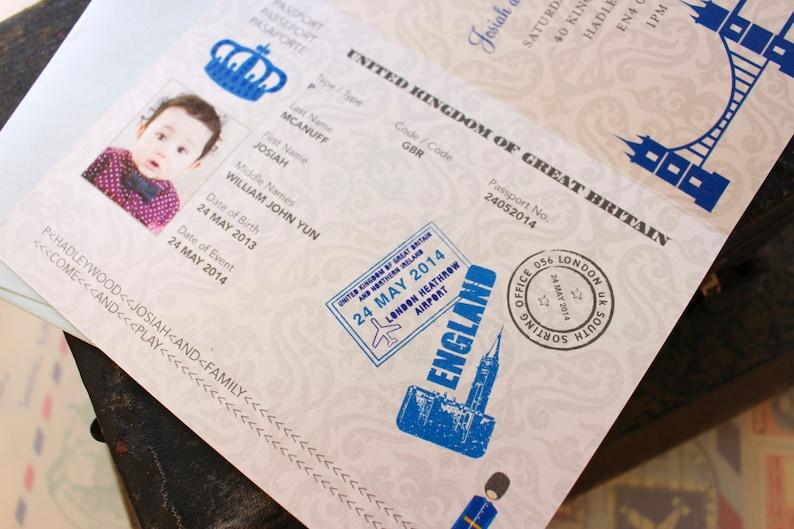 First Birthday Passport to London Birthday Invitation