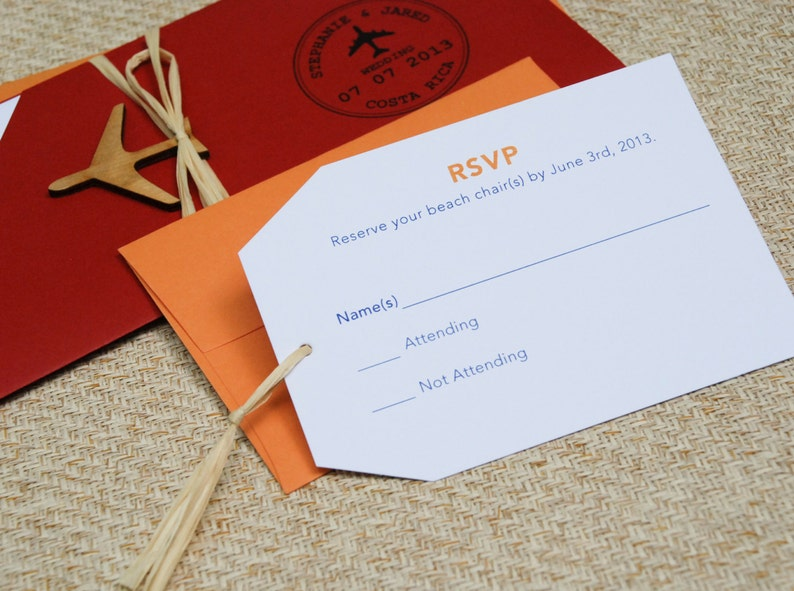 modern boarding pass wedding invitation costa rica design
