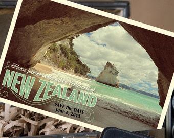Vintage Postcard Save the Date (New Zealand) - Design Fee