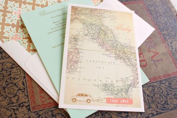 Modern Travel Wedding Invitation Italy Design Fee | Etsy