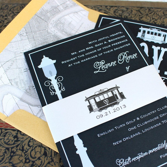 Modern Streetcar Wedding Invitation White Ink New Orleans   Etsy
