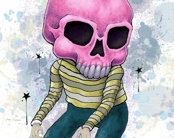Gum Skull limited edition signed print - by Bryan Collins