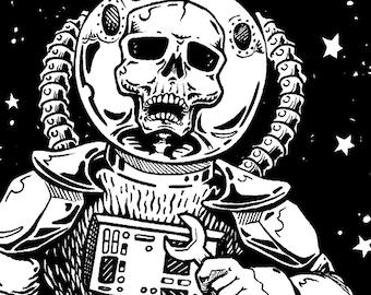 Space Skeleton Astronaut Vinyl Sticker