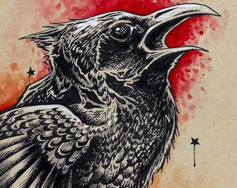 Edgar Allan Poe Raven hand signed fine art wall print - by Bryan Collins