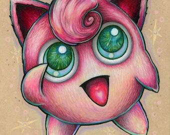 Jigglypuff Jiggly Puff Pink Fuzzy Pokemon drawing fine art wall print - by Bryan Collins