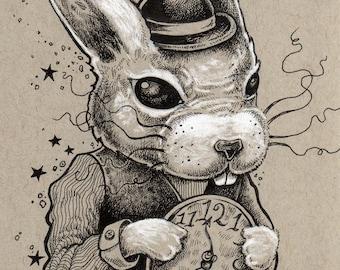 The White Rabbit Alice In Wonderland Wall Art Fine Pop Print - by Bryan Collins