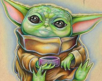Grogu The Child Baby Yoda Inspired Star Wars Fine Wall Art Print - by Bryan Collins