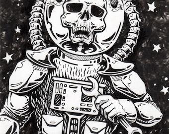 Skeleton Astronaut space alien Vinyl Sticker - by Bryan Collins