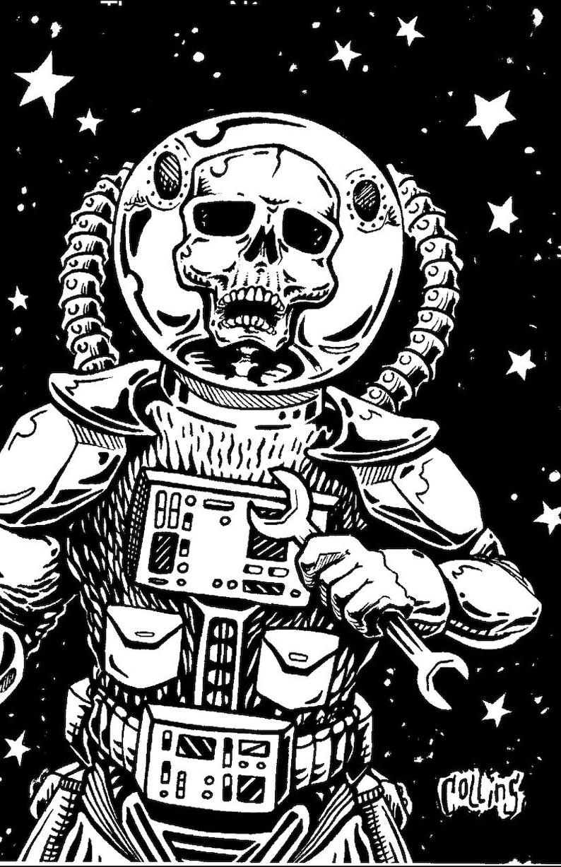 9ac860018 Space Skeleton Astronaut Vinyl Sticker by Bryan Collins | Etsy