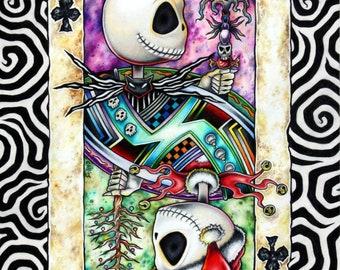 Jack Skellington Nightmare Before Christmas art print as Jack of Clubs Playing Card - by Bryan Collins