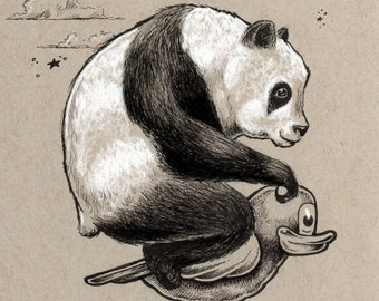 Panda on a Park Duck fine art 5x7 print - by Bryan Collins