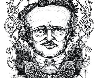 Edgar Allan Poe Raven Vinyl Sticker - by Bryan Collins