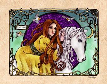 Rhiannon - art nouveau Welsh celtic goddess signed print - Mary Layton