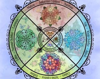 Seasonal Wheel of the Year Pagan Altar Cloth Scarf
