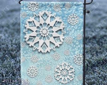 Faerie Flakes Winter Snow Yard Flag