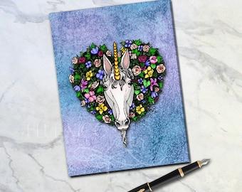 Unicorn Wreath Hard-Bound Journal Art By Mary Layton