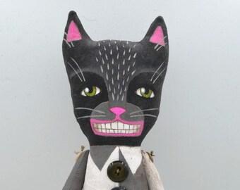 Black Cat Doll Halloween Decor Original Hand Painted Cloth Folk Art Sculpture OOAK