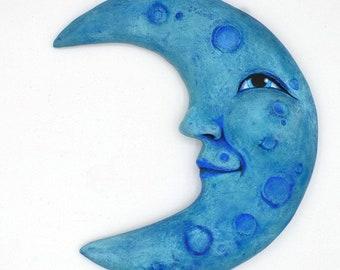 Anthropomorphic Blue Moon Original Hand Painted Folk Art Doll Paper Mache Wooden Sculpture OOAK
