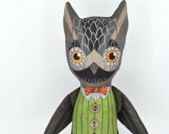 Owl Doll Halloween Decor Original Hand Painted Cloth Folk Art Sculpture OOAK