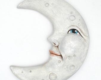 Anthropomorphic Moon Original Hand Painted Folk Art Doll Paper Mache Wooden Sculpture OOAK
