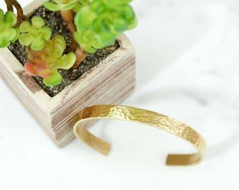 Heavy Textured Hand Stamped Metal Brass Cuff Bracelet