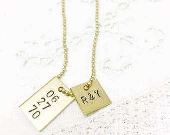 Anniversary Squares Charm Necklace