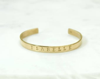 PERSONALIZED NAME Hand Stamped Metal Brass Cuff Bracelet