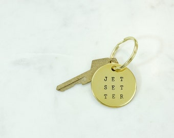 EXTRA LARGE Word Brass Keychain Hand Stamped