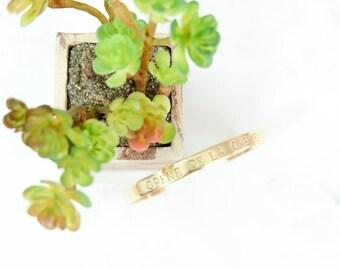 CREME dela CREME Hand Stamped Metal Brass Cuff Bracelet