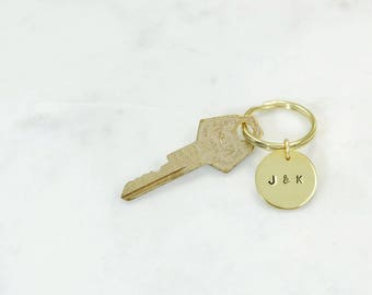COUPLE INITIALS Hand Stamped Metal Brass Key Ring