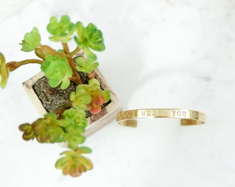 DO what YOU Love Hand Stamped Metal Brass Cuff Bracelet
