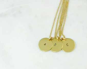 INITIAL Charm Brass Necklace Hand Stamped
