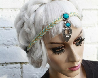 Embellished Blue Gold Plait Headband Soft Grunge Boho Hippie 70s Style