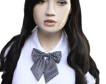 Blue Stripe Bow Neck Tie - Japan School Girl Style