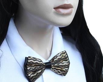 Gold Black Bow Neck Tie - Japan School Girl Style