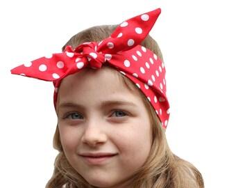 Girls Kids Red Polka Dot 1950s Rockabilly Retro Style Head Scarf