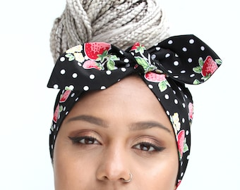 Deluxe Red Strawberry Black Spot Shaped Reversible Vintage 50s Style Pin Up Bow Head Scarf