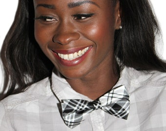 White Black Tartan Bow Neck Tie - Japan School Girl Style